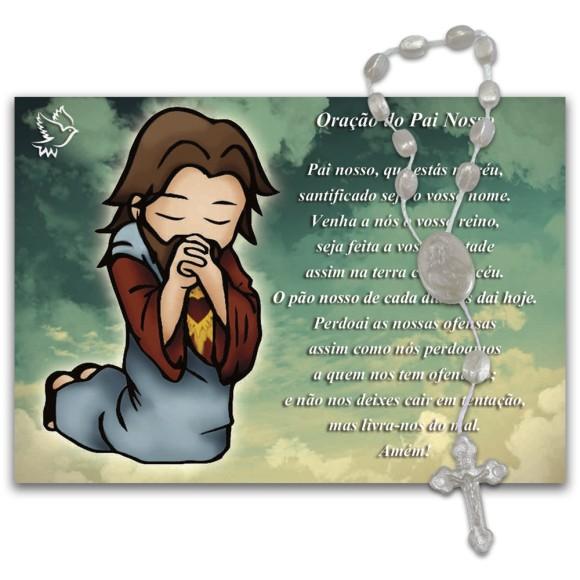IA40455 - Imã Pai Nosso c/ Dezena de Acrílico e Oração (Estilizado) - 7x10cm