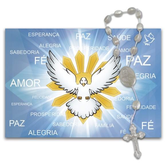 IA40850 - ÚLTIMAS PEÇAS Imã Divino Espirito Santo c/ Dezena de Acrílico - 7x10cm