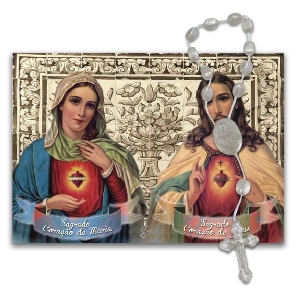 IA40852 - ÚLTIMAS PEÇAS Imã Sagrado Coração de Maria e Sagrado Coração de Jesus c/ Dezena de Acrílico - 7x10cm