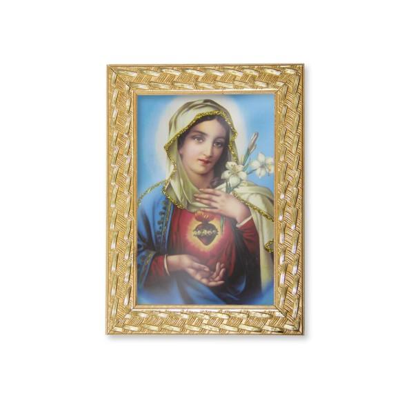 QD91004 - Quadro Moldura Sagrado Coração de Maria - 13x18cm