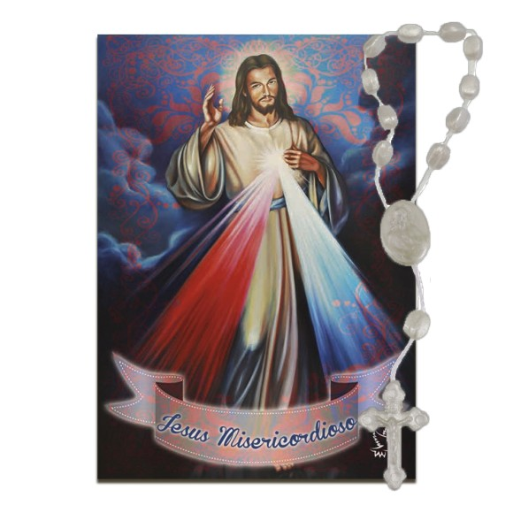 IA40402 - ÚLTIMAS PEÇAS Imã Jesus Misericordioso c/ Dezena de Acrílico - 7x5cm