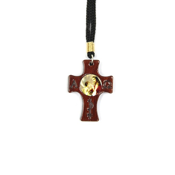 CC14001 - Cordão c/ Cruz Madeira Primeira Eucaristia Menino - Cordão 38cm Pingente 4x3cm