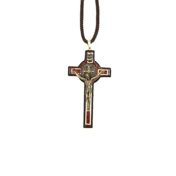 CC36007 - Cordão São Bento c/ Crucifixo Madeira - 41cm