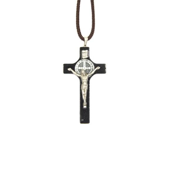 CC36010 - Cordão São Bento c/ Crucifixo Madeira - 44cm