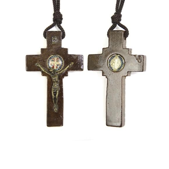 CC36013 - Cordão São Bento c/ Crucifixo Madeira - 37,2cm