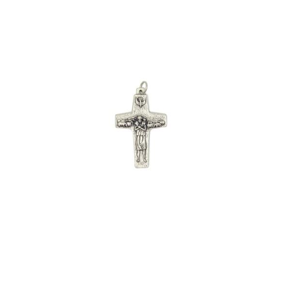 CZ73020 - Cruz Italiana Papa Francisco (Bom Pastor) Prateada - 4x2,5cm