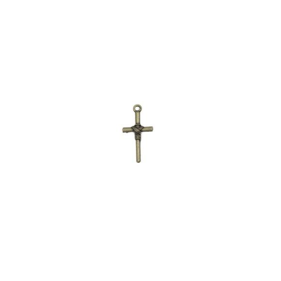 CZ89042P10 - Cruz Metal Ouro Velho c/ 10un. - 1,5x2,8cm