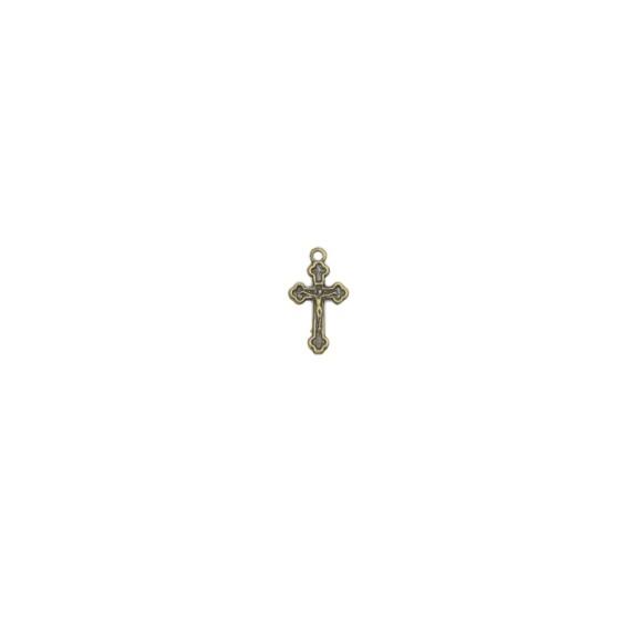 CZ89064P20 - Crucifixo Metal Ouro Velho c/ 20un. - 2x1cm