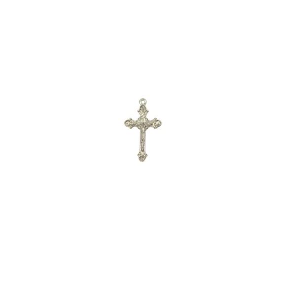 CZ89070P10 - Crucifixo Metal Prateado c/ 10un. - 2x3cm