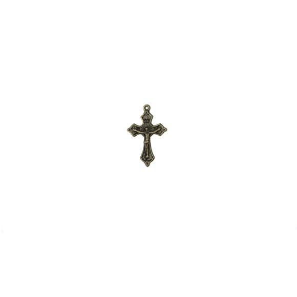CZ86051P5 - Crucifixo Metal Ouro Velho c/ 5un. - 3,5x2,2cm
