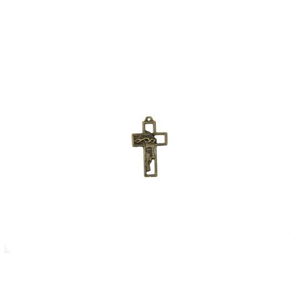 CZ89221P5 - Crucifixo Metal Face de Cristo Ouro Velho c/ 5un. - 3,3x2cm
