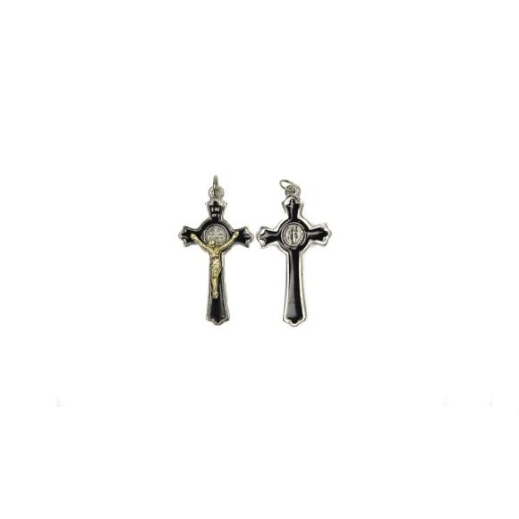 CZ86130 - Crucifixo Metal São Bento Resinada Cristo Dourado - 5x2,8cm