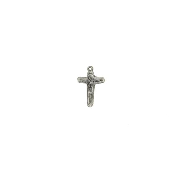 CZ86142P5 - Crucifixo Metal Jesus e Maria Níquel Envelhecido c/ 5un. - 3,5x2cm
