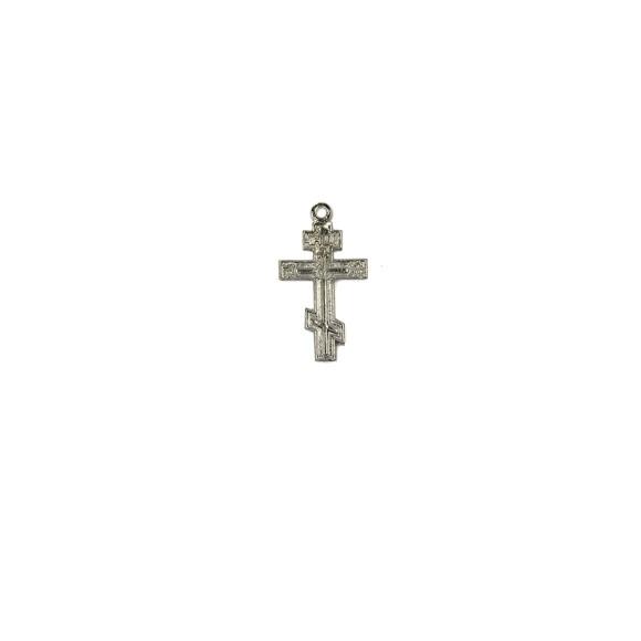 CZ86210P2 - Cruz Metal Ortodoxa Níquel c/ 2un. - 3,8x2cm