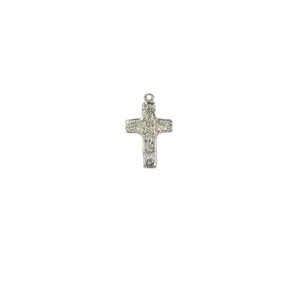 CZ86126 - Crucifixo Metal Bom Pastor Níquel - 5,2x3cm