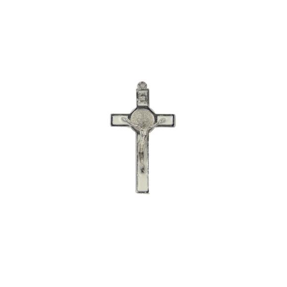 CZ85222 - Crucifixo Metal São Bento Resinado Branco - 7x4cm