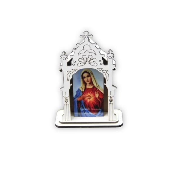 OT810001 - Oratório Sagrado Coração de Maria MDF Branco - 12x8cm
