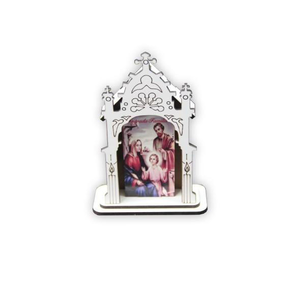 OT810200 - Oratório Sagrada Família MDF Branco - 12x8cm