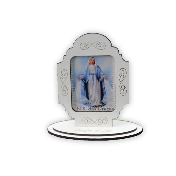 AO290002 - Adorno Pedestal MDF Branco N. Sra. Das Graças - 12x11cm