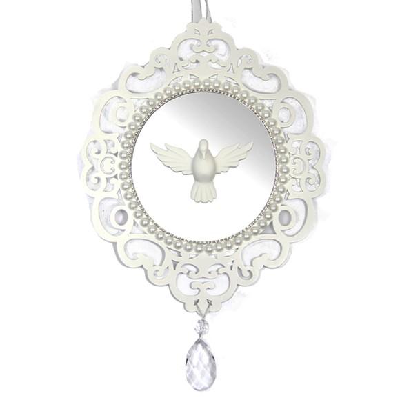 QD48005 - Quadro Divino Espírito Santo Branco c/ Espelho - 36x25,5cm