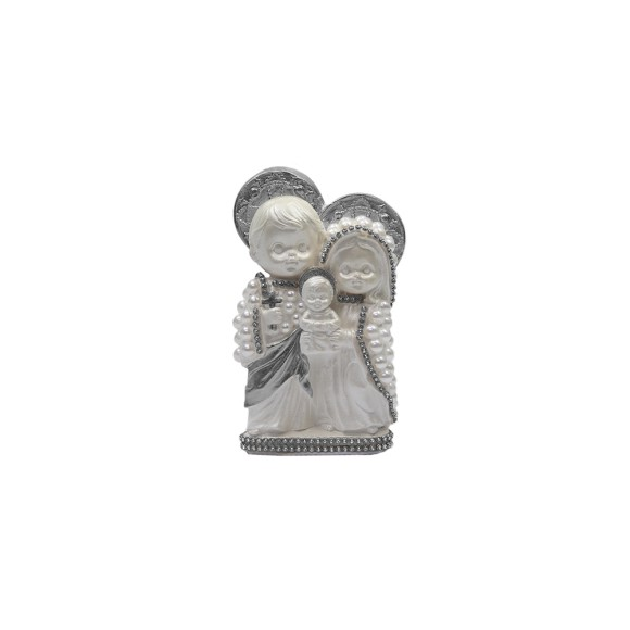 IM53002 - Imagem Sagrada Família Prata c/ Pérola e Strass - 14x10cm