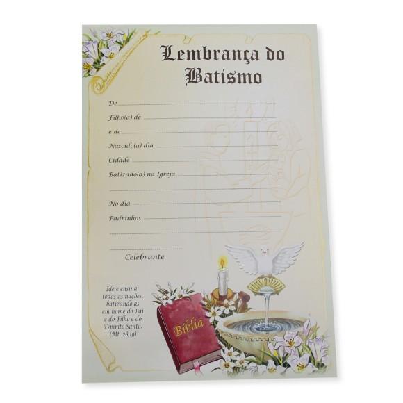 CF75001 - Certificado Lembrança do Batismo - 28x19cm