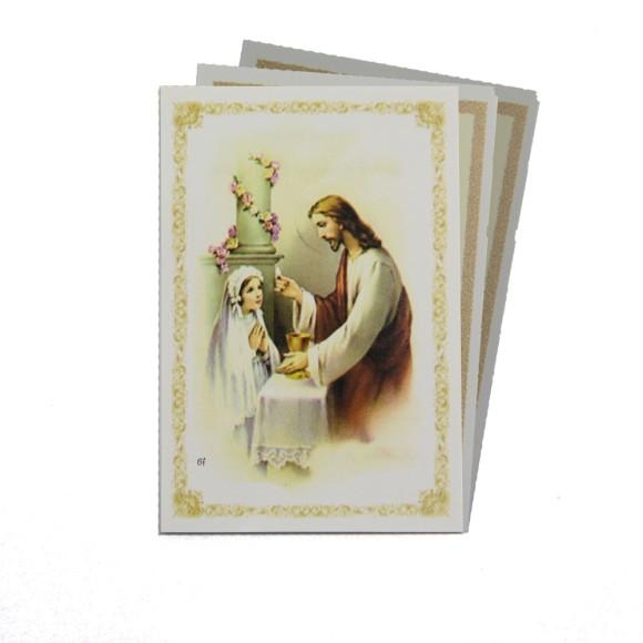 CT112050P100 - Cartão c/ 100un. Lembrança Primeira Eucaristia Menina - 9,5x6,5cm