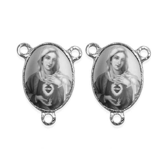 ET1681015P2 - Entremeio Sagrado Coração de Maria Duplo Resinado c/ 2un. - 2,5x2cm