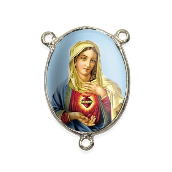 ET1690008 - Entremeio Sagrado Coração de Maria Resinado - 4,5x3cm