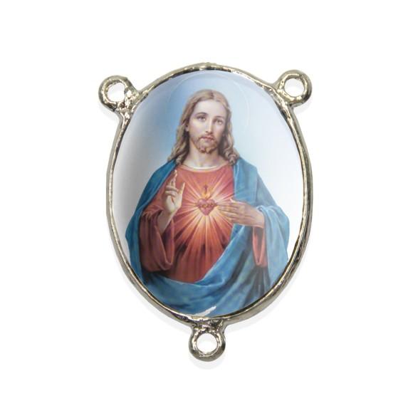 ET1690401 - Entremeio Sagrado Coração de Jesus Resinado - 4,5x3cm