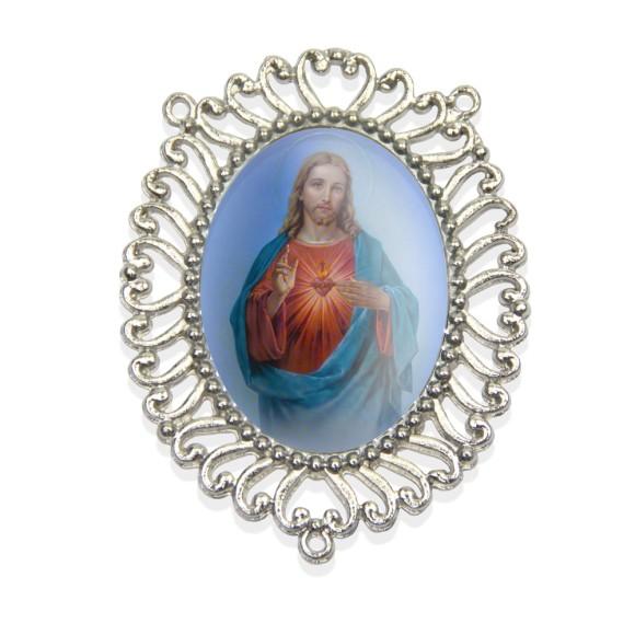 ET1692400 - Entremeio Sagrada Coração de Jesus Resinado - 6x5cm