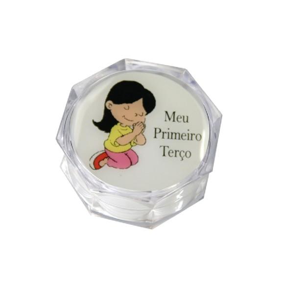 CMT75004P6 - Caixinha de Acrílico Sextavada  Meu Primeiro Terço Menina c/ 6un. - 3,5x3,5cm
