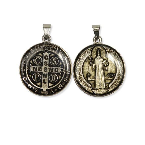 MD1420106 - Medalha São Bento Resinada Redonda Níquel - 4x2,6cm