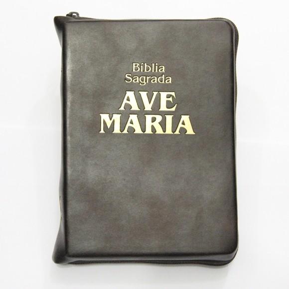 BI1511 - Bíblia Sagrada Ave Maria Marrom c/ Ziper - 20x14,5cm