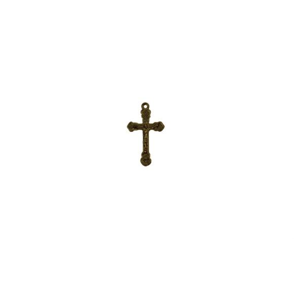 CZ86061P10 - Crucifixo Metal Ouro Velho c/ 10un. - 3,3x2cm