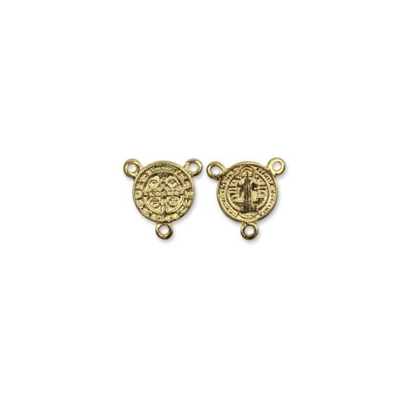 ET1630002P3 - Entremeio Medalha de São Bento Dourado c/ 3un. - 1,4x0,6cm