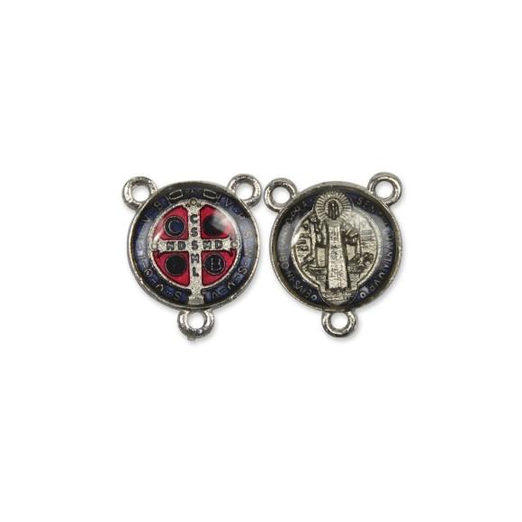 ET1630020 - Entremeio Medalha de São Bento Níquel Resinado 2un. - 2x1,8cm