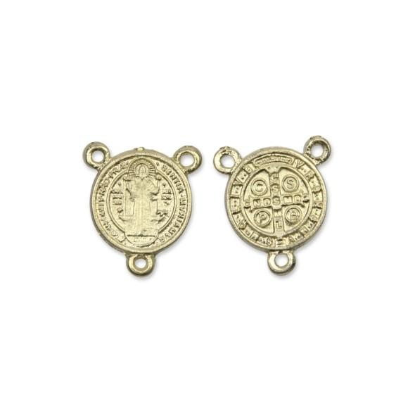 ET1630033P3 - Entremeio Medalha de São Bento Dourado c/ 3un. - 2x2cm