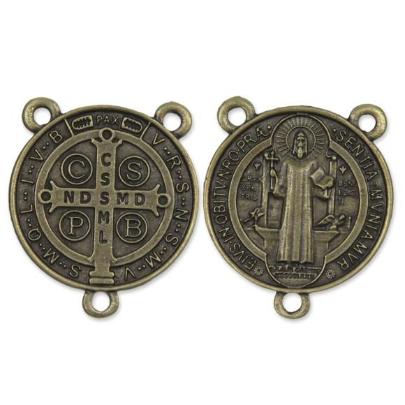 ET1630061 - Entremeio Medalha de São Bento Ouro Velho - 5,2x4,3cm