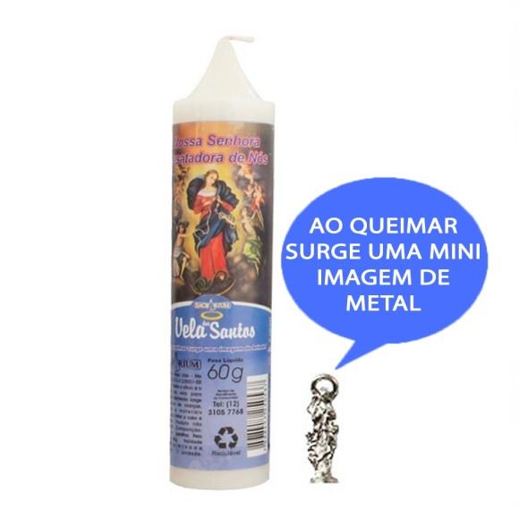 VE155102 - Vela N. Sra. Desatadora dos Nós c/ Santo de Bolso - 14x3cm