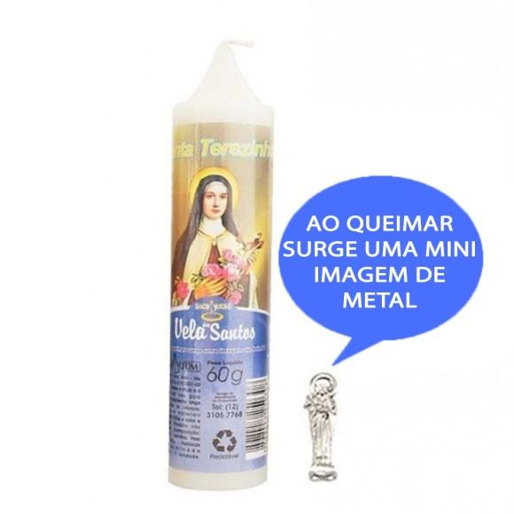 VE155104 - Vela Santa Terezinha das Rosas c/ Santo de Bolso - 14x3cm