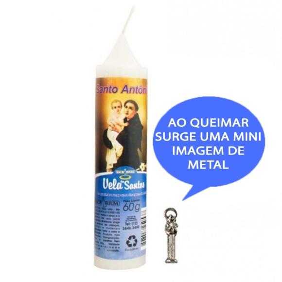 VE155120 - Vela Santo Antônio c/ Santo de Bolso - 14x3cm