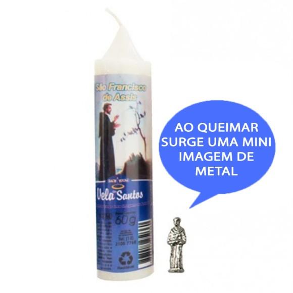 VE155121 - Vela São Francisco de Assis c/ Santo de Bolso - 14x3cm
