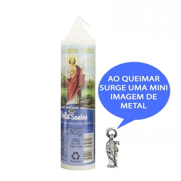 VE155125 - Vela São Judas Tadeu c/ Santo de Bolso - 14x3cm