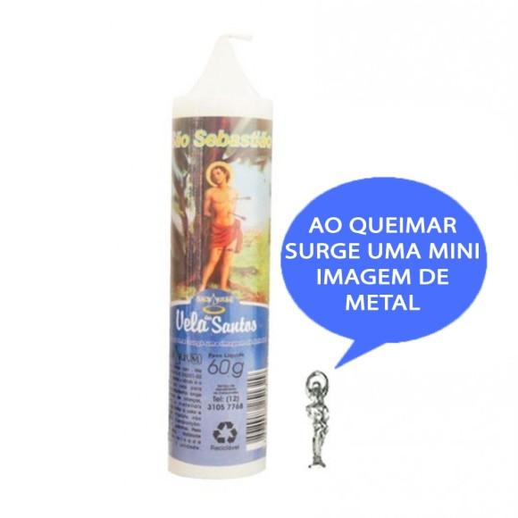 VE155127 - Vela São Sebastião c/ Santo de Bolso - 14x3cm