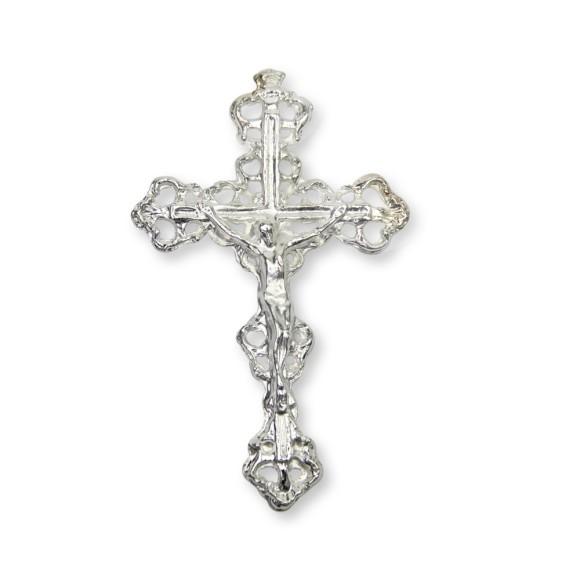 CZ99075 - Crucifixo Metal Prateado - 7,5x4,5cm