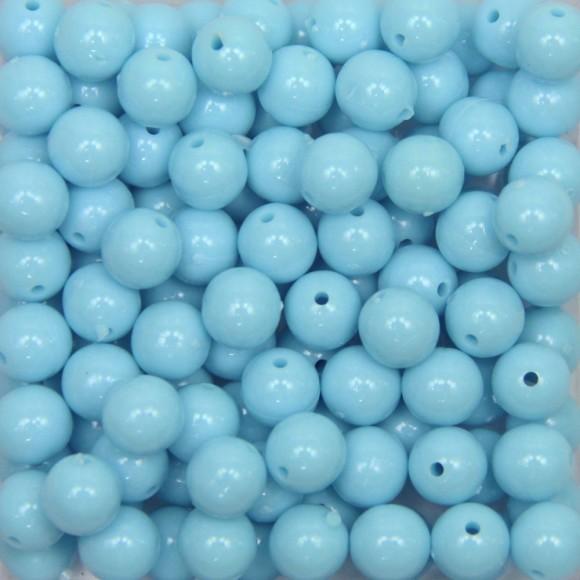 CTM050010P500G - Contas Bolinhas Acrílico Azul Claro c/ 500 gramas - 8mm