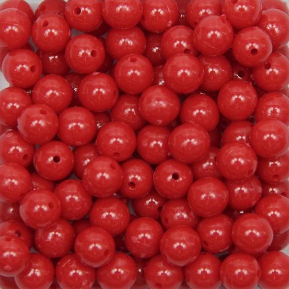 CTM050045P500G - Contas Bolinhas Acrílico Vermelho c/ 500 gramas - 8mm