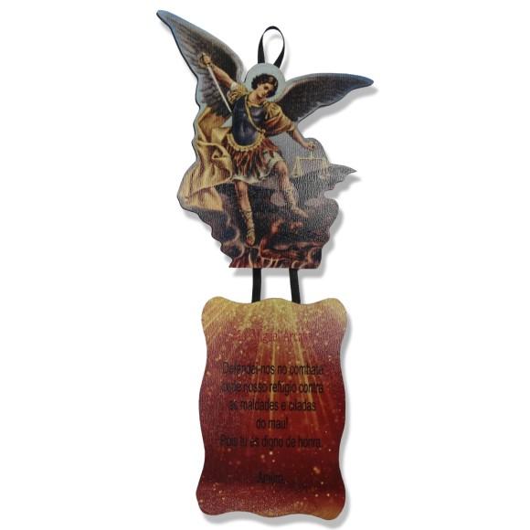 MO1410081 - Móbile São Miguel Arcanjos  c/ Oração - 24x10,5cm