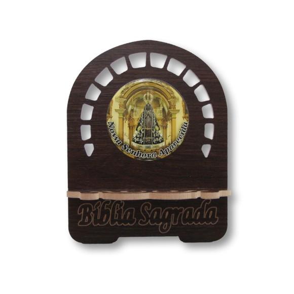 PB810001 - Porta Bíblia N. Sra. Aparecida MDF Resinado - 22x17,5cm